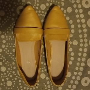 Yellow Pointed Toe Ballet Flats